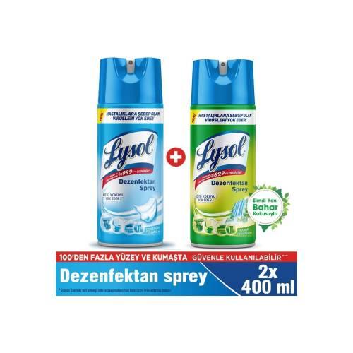 Lysol Dezenfektan Sprey Temizliğin Esintisi + Bahar Ferahlığı, Yüzeyler Için, 2X400 ml