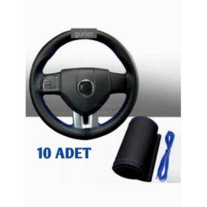dikmeli deri direksiyon kılıfı soft esnek kokusuz standart mavi ipli 10 ADET