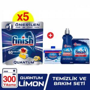 Finish Quantum Limonlu 300 Tablet Bulaşık Makinesi Deterjanı (60x5) + Finish Temizlik ve Bakım Seti