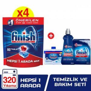Finish Hepsi Bir Arada 320 Tablet Bulaşık Makinesi Deterjanı (80x4) + Finish Temizlik ve Bakım Seti