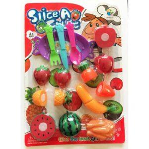 Bebek HEDİYELİ - Servis Tabaklı, 17 Parça Oyuncak Kesilebilir Meyve Seti - Kesme Meyve Seti