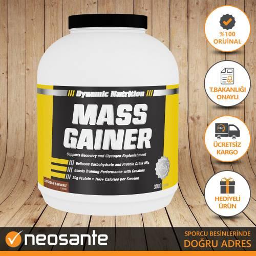 Dynamic Mass Gainer 3000 gr (Çikolata-Brownie) Karbonhidrat Tozu + 3 HEDİYE