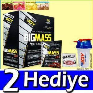 BigJoy BigMass Gainer 50 Servis Paket 5000 Gr Karbonhidrat Tozu MİX ÇİKOLATA, ÇİLEK, MUZ Bir Paket