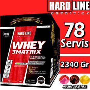 Hardline Whey 3 Matrix 2340 Gr 78 Adet x 30 Gr Şase Protein Tozu Mix 3 Çikolata-Çilek-Muz Hardlıne