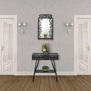 Ferforje Çiçeklik Ve Ayna Takımı Metal Çiçeklik Duvar Aynası