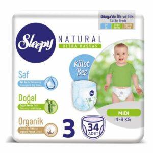 Sleepy Natural Külot Bez 3 Beden 34 Adet