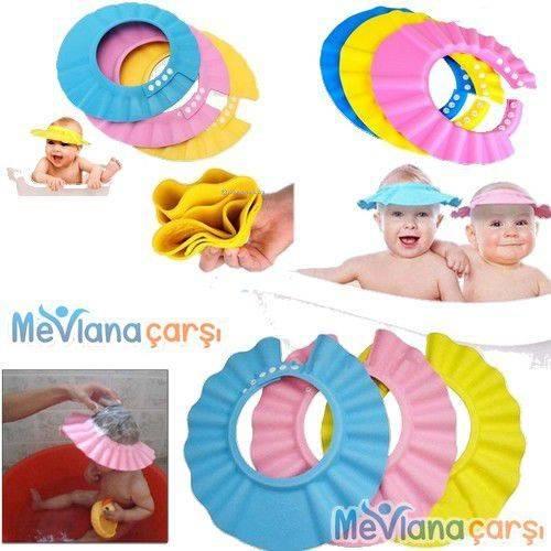 Baby Mate Bebek Banyo Şapkası Duş Başlığı Ayarlanabilir Çocuk Küvet Göze Su Kaçırmayan Şapka Düğmeli