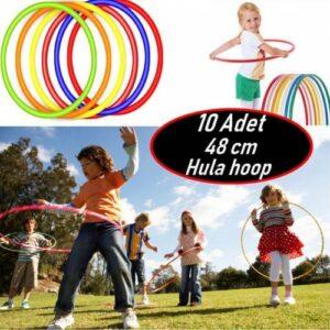 10 Adet 48cm Hulahop Renkli HulaHop Bel İnceltici Jimnastik Çemberi Egitici Çember Oyuncağı