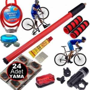 Bisiklet Aksesuar Tamir Seti Pompa Yama Zil Far Elcik Kilit Motor Bisiklet Lastik Tamir Bakım Seti