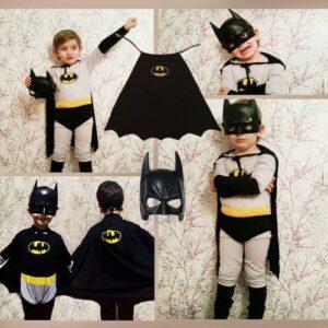Batman Kostümü - Gri ve Siyah Seçenekli Çocuk Kostümü Pelerin + Pvc Maske Hediyee