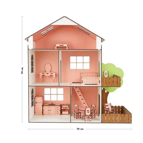 interGO Ahşap Oyun Evi Mobilyalı Oyuncak Ev Barbie Evi