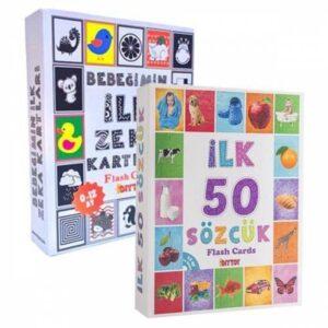 Diytoy, İlk 50 Sözcük, İlk Zeka Kartları, 2 li Set, Eğitici Kartlar, Flash Cards, Ücretsiz Kargo