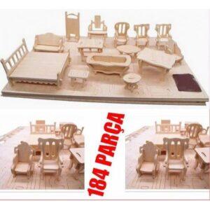 Ahşap 184 Parça Minyatür Boyanabilir Ev Eşyaları Maketi 3d Ahşap Oyuncak Mobilya Seti