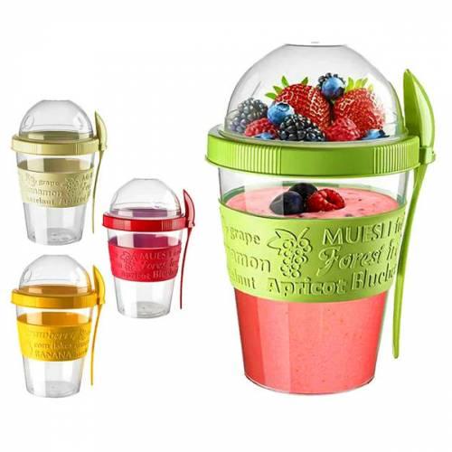 Take N Go Kapaklı Kaşıklı Hazırla Ve Çık Meyveli Yoğurt Kabı Yiyecek Saklama Hazneli Portatif Titiz