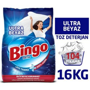 Bingo Matik Toz Çamaşır Deterjanı 4 kg Ultra Beyaz 4'lü