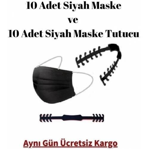 10 ADET SİYAH RENK MASKE ve 10 ADET MASKE TUTUCU CE Belgeli Sertifikalı Telli Lastikli Cerrahi Maske