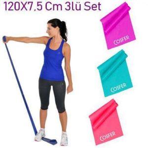 3 Lü Pilates Band Pilates Bandı Pilates Lastiği Plates Bant 120 X 7,5 Cm Egzersiz Yoga Direnç Lasti