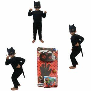Adrian Kara Kedi Kostümü + Işıklı Kara Kedi Eldiveni - Adrian Kostümü