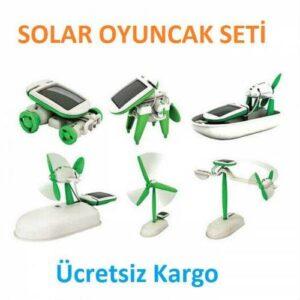 6 in 1 Solar Solar Güneş Enerjili Robot Kit Oyuncak Yarış Arabası Araba Robot Oluşturma Tekne Uçakk