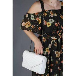 Beyaz Omuz Askılı Zincirli Kadın Çanta - Toder