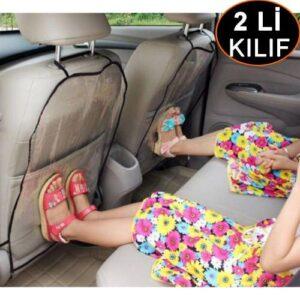 Araba Koltuk Arkası Koruyucu 2 li Kılıf - Şeffaf (Ücretsiz Kargo)