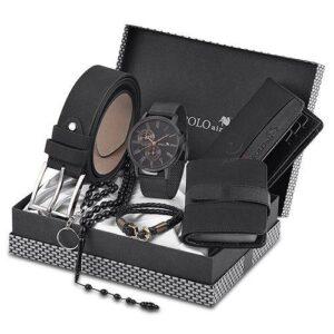 Polo Air Erkek Kol Saati Kemer Cüzdan Kartlık Tesbih Anahtarlık Bileklik Kombin Set PL-0399E