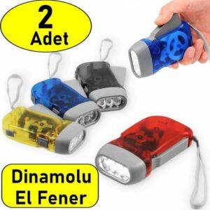 2 Adet Tüm Aileye Deprem İçin Pilsiz Dinamolu 3 Ledli El Feneri DEPREM FENERİ PİLSİZ FENER