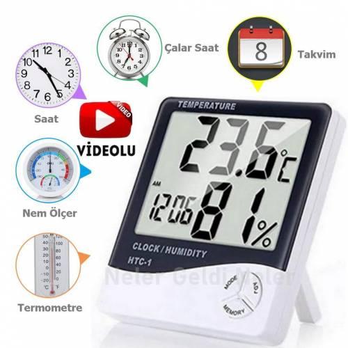 Dijital Termometre Sıcaklık Ve Nem Ölçer Masa Saati Alarm Higrometre Ev İşyeri Bebek-çoçuk Odası