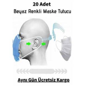20 Adet Beyaz Renk Maske Tutucu Aparat Kulak Koruyucu Maske Tutma Aparatı Maske Tutturucu Toka Klips