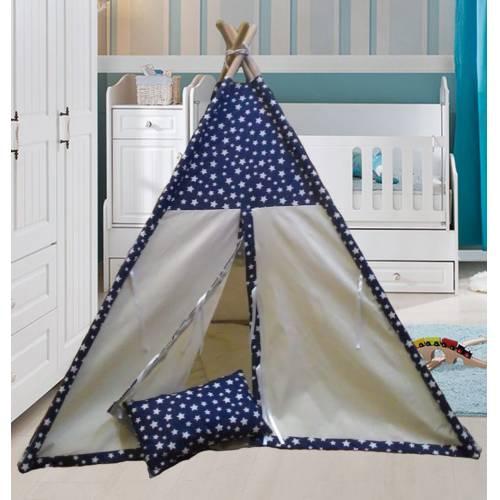 Altev Yıldız Desenli Ahşap Çoçuk Çadırı Kızılderili Çadırı Oyun Evi Oyun Çadırı Kamp Çadırı Yastıklı