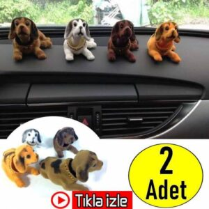2 ADET Kafa Sallayan Köpek Araç Aksesuarı Oynar Başlıklı Köpek Araç Torpido Süsü 2 RENK + ÜCRETSİZ K