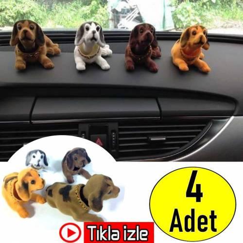 4 ADET Kafa Sallayan Köpek Araç Aksesuarı Oynar Başlıklı Köpek Araç Torpido Süsü + AYNI GÜN KARGO