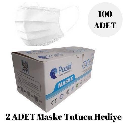 POZİTİF MASKE Burun Telli 3 Katlı Lastikli CE Belgeli Cerrahi Maske 100 Adet Maske Ağız Yüz Maskesi