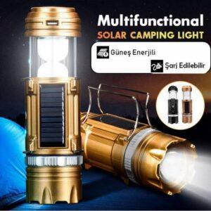 Büyük Boy Led Işıldak Şarjlı El Feneri Led Kamp Lambası Solar Usb Şarj Edilebilir Güneş Enerji -K66T