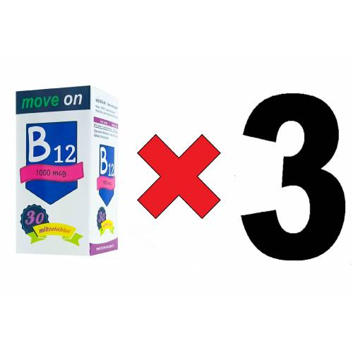 Move On Vitamin B12 (3 ADET) 1000 mcg 30 Dilaltı Mikrotablet SKT:2024