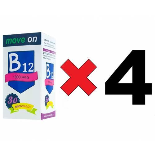 Move On Vitamin B12 (4 ADET) 1000 mcg 30 Dilaltı Mikrotablet SKT:2024