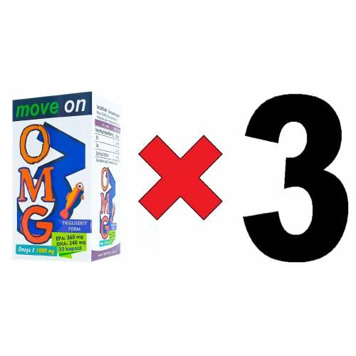 Move On OMEGA 3 1000 mg (3 ADET) (Balık Yağı) EPA 360 /DHA 240. 30 Kapsül SKT: 2023