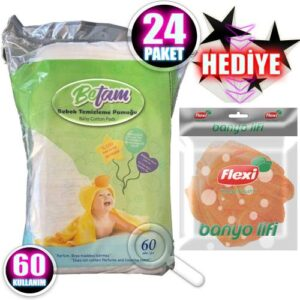Betam Bebek Temizleme Pamuğu İpek Gibi Yumuşak 60 lı 24 Paket
