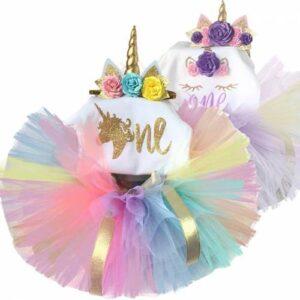 1 yaş doğum günü tütü unicorn etek seti,3 lü unicorn badi unicorn taç,ORJİNAL BASKILI,unicorn kostüm
