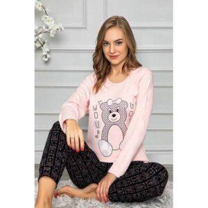 Uzun Kol Pudra Pembe İnterlok Kışlık Bayan Kadın Pijama Takımı Alt Üst Takım Kışlık Kalın Pijama