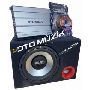 Cep Dostu Paket Set Bm Audio 1000Watt Kabinli Bass Musica 2400Watt 4Kanal Araç Amfisi + Kablo Seti