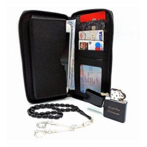 Erkeğe Hediye Telefon Ve Kredi Kartlık Cüzdan Çakmak Ve Tesbih Seti